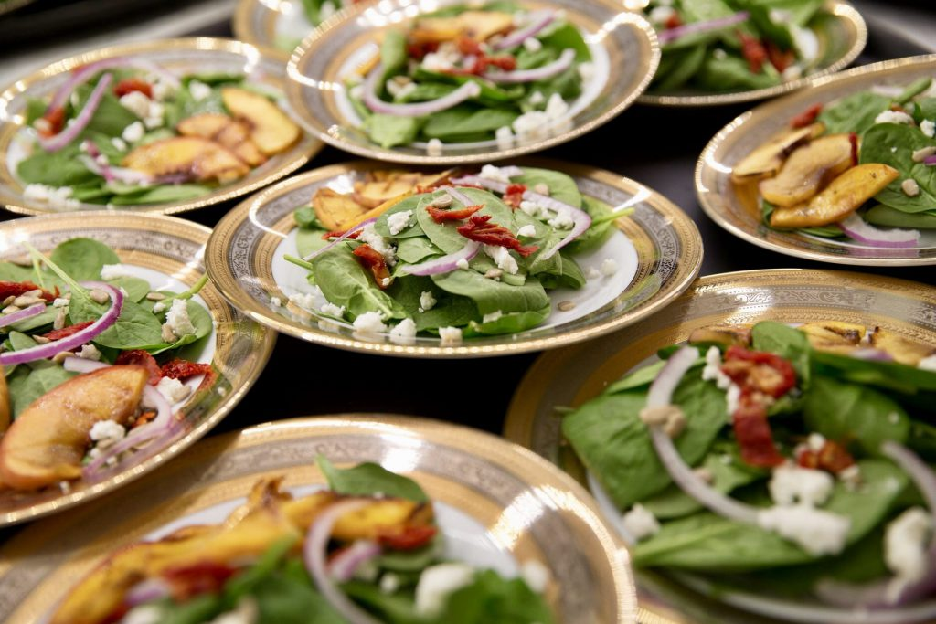 Plates of various salads