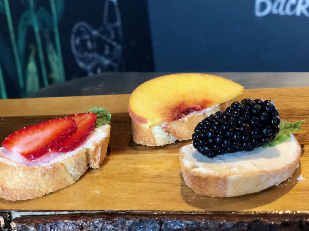 Display of assorted fruits on bread