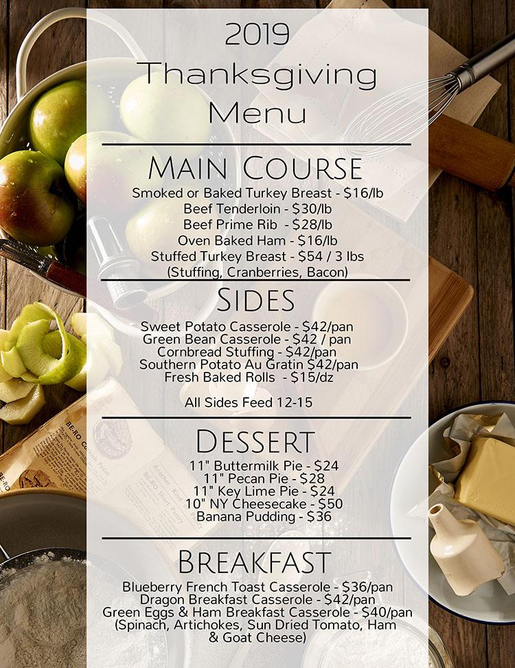 Scratch Catering Thanksgiving Menu