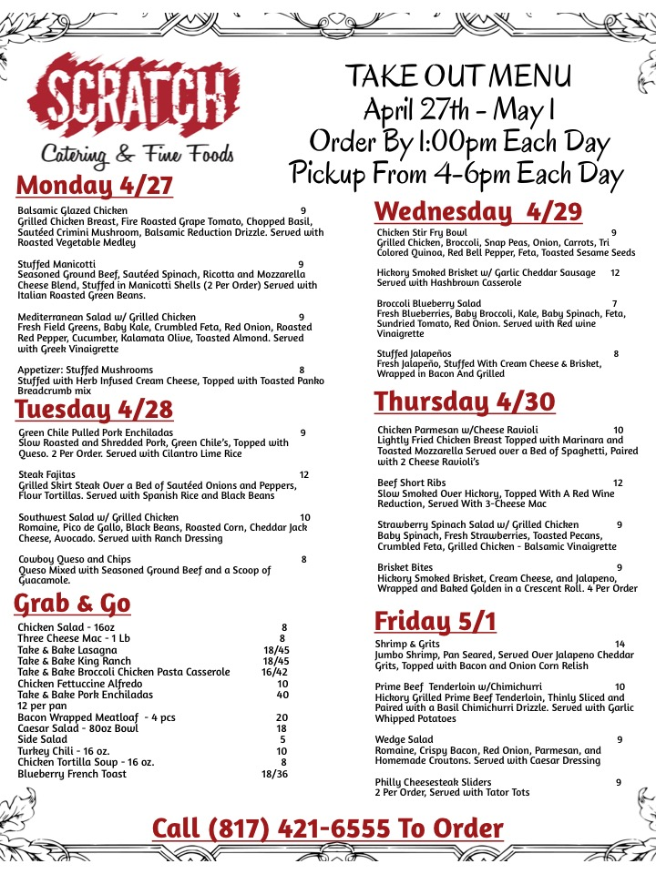 Scratch Catering Southlake Take Out Menu 7